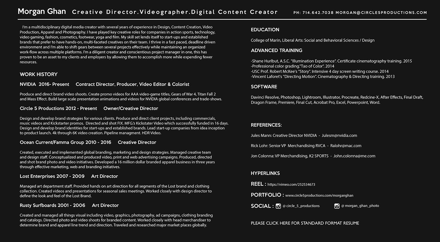 resume circle 5 productions